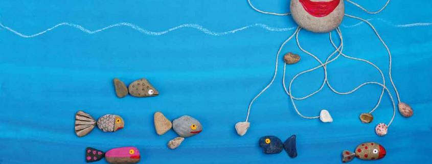 Wassertiere aus Steinen basteln