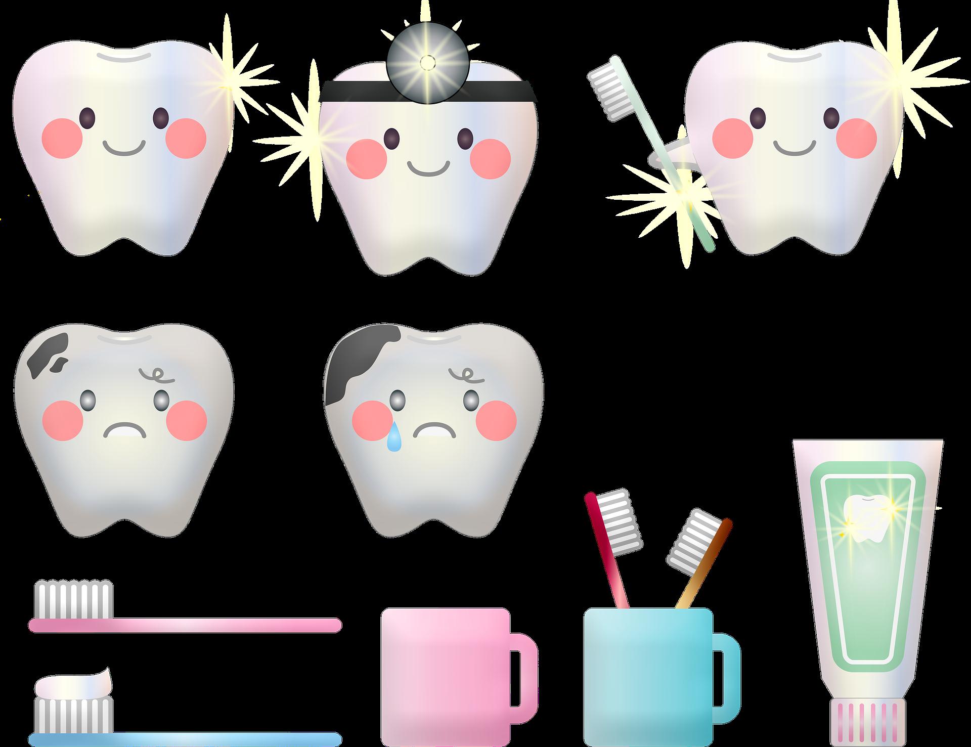 gesunde und kranke Zähne - Grafik